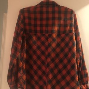 Free People Tops - Free People Orange and blue cotton flannel
